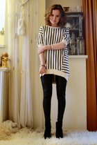 white acne top - black Topshop leggings - black H&M shoes