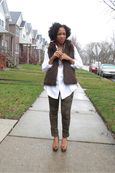 white faux fur Kenar vest - brown wedges lulus shoes