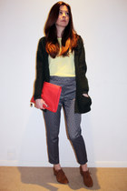 coral H&M bag - tawny Duo shoes - dark green River Island cardigan