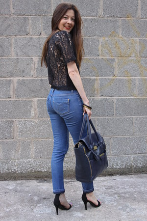 lace Topshop top - denim Topshop jeans - Topshop bag - suede new look sandals