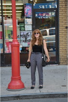 black mocassins Steve Madden flats - heather gray trousers H&M pants
