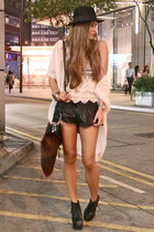 black leather One Teaspoon shorts