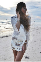 white sequin Aje skirt