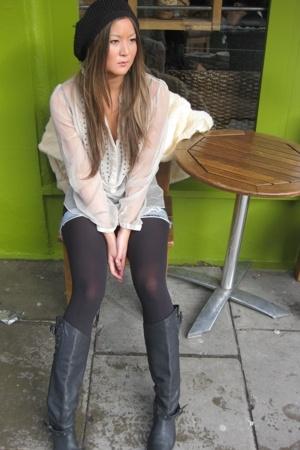 TopShop Unique blouse - von dutch skirt - Hugo Boss boots - Accessorize hat - Ac