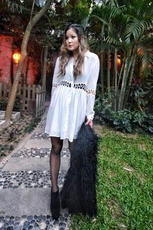 white Style Stalker dress - black Egoist coat - black Cheap Monday wedges