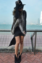 brown fur vest Zara vest - black Enza Costa dress - black H&M hat