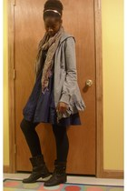 Poof sweater - Max Rave dress - Miss Me boots - tights - scarf - accessories