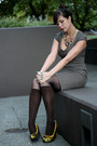 Heather-gray-tweed-h-m-dress-dark-brown-leggings-yellow-marco-santi-heels
