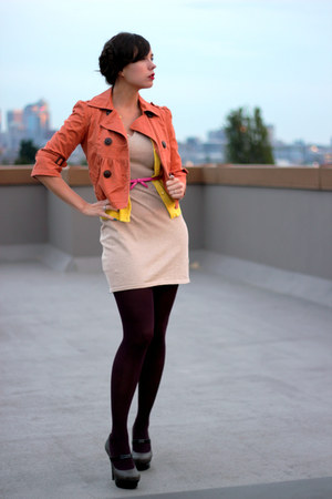 orange American Rag jacket - beige Mango dress - magenta JC Penney tights