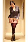 Dark-brown-marco-santi-boots-charcoal-gray-jcrew-sweater-maroon-tights