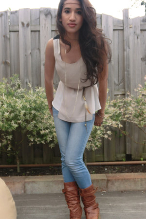 ivory Sugarlips top - Ebay boots - sky blue New Yorker jeans - H&amp;M accessories