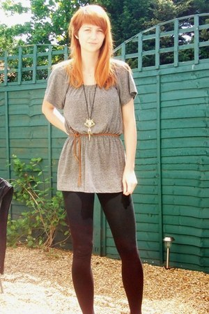 Zara dress - Zara leggings - Topshop necklace