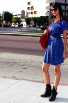 blue Urban Outfitters dress - black Ross boots - ruby red Louis Vuitton purse