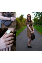 mustard love SIX ring - light brown dotted miss patina dress - dark brown bag