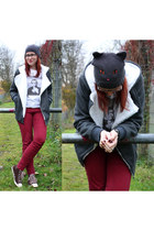 dark gray cat eye H&M hat - dark brown Converse shoes