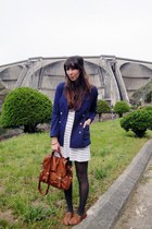 navy H&M blazer - tawny Primark shoes - white striped Primark dress