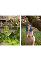 suede vintage skirt - Krizia blouse - snakeskin vintage Donna Karan belt