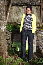 yellow cardigan - navy wide leg jeans INC jeans - gray camo print t-shirt