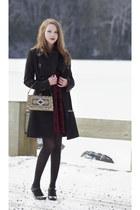 gold vintage bag - maroon velvet Mink Pink dress - black karen millen coat