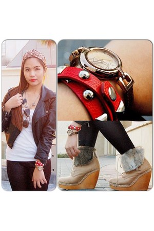 black leather jacket - peach ankle high jhajing boots - black anagon accessories