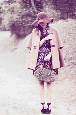 camel wool Sheinside coat - mustard Picnic dress - dark brown wool vintage hat