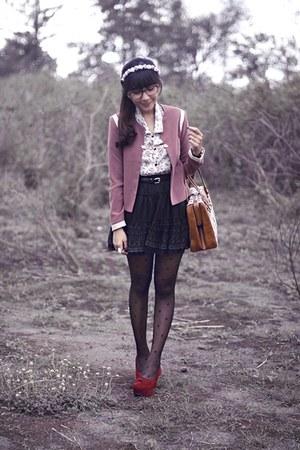 pink Berrybenka blazer - tawny vintage bag - brick red velvet shoecorner pumps