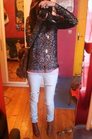 Agns b top - H&M vest - Zara jeans - San Marina shoes - c&a purse