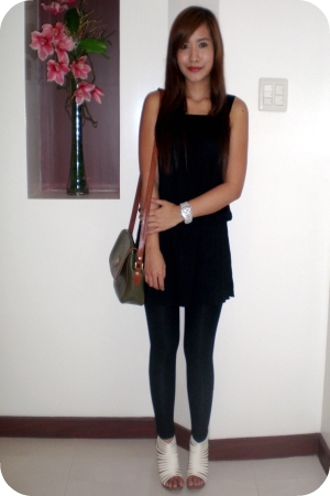 thrifted shift dress - Zara leggings - Matthews CMG shoes - Philippe Salvet purs