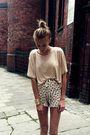 Beige-h-m-shirt-beige-zara-shorts-brown-topshop-shoes