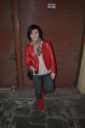 red leather jacket jacket - red boots - dark gray American Eagle jeans