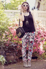 White-floral-romwe-pants-black-studded-urban-outfitters-bag