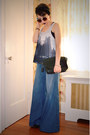Black-vintage-coach-bag-blue-flared-anthropologie-pants-white-h-m-top