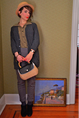 thrifted bag - Guess pants - I heart ronson blouse - Urban Outfitters cardigan