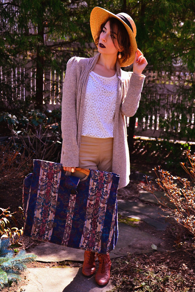 modcloth boots - vintage hat - vintage bag - Anthropologie cardigan - H&M blouse