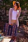 Modcloth-boots-vintage-hat-vintage-bag-anthropologie-cardigan-h-m-blouse