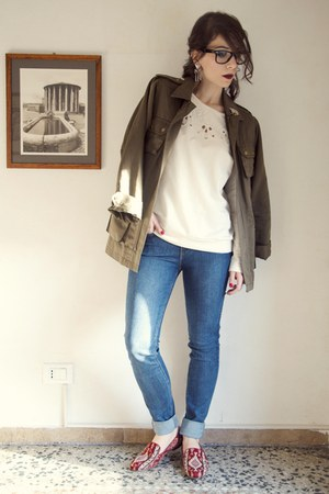 olive green parka H&amp;M jacket - blue madewell jeans - ivory Zara sweatshirt