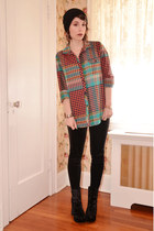 carrot orange plaid Urban Outfitters shirt - black velvet Deena & Ozzy shoes
