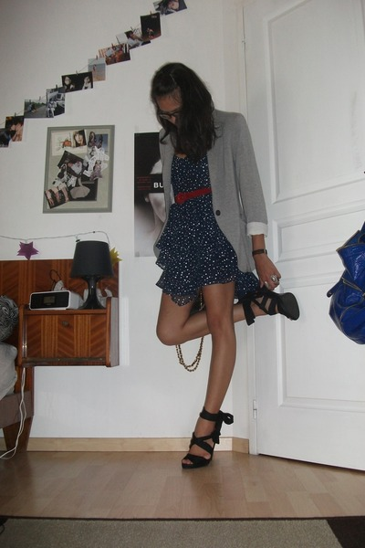 silver Zara blazer - black H&M shoes - blue vintage dress
