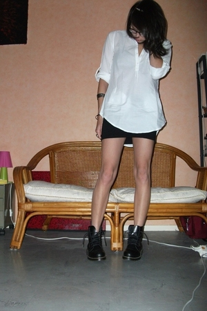 white Bershka shirt - black Cable shoes - black H&M skirt