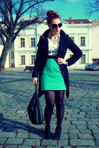 black Mango coat - white H&M shirt - black Zara bag - aquamarine H&M skirt