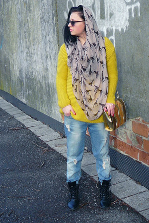 yellow Zara sweater - black H&amp;M boots - sky blue New Yorker jeans
