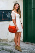 whilte lace H&M dress - Topshop boots - moroccan bag