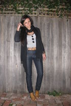 Indigo jeans - Country Road belt - boots - gray whistles top