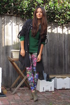 pink digital floral Topshop leggings - heather gray ankle Schutz boots