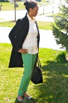 black light weight Forever 21 coat - H&M jeans - white H&M sweater