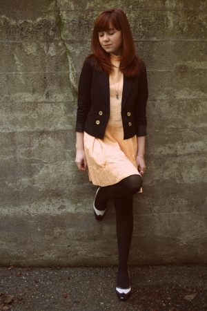 H&M jacket - vintage dress - gift tights - vintage shoes