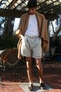 Beige-no-label-scarf-brown-tods-shoes-beige-polo-shorts-brown-louis-vuitto