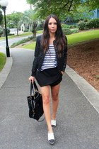 Chanel flats - black bardot jacket - black Prada bag - cotton on top