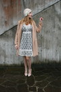 White-vila-clothes-dress-beige-yes-style-coat-beige-le-chapeu-hat