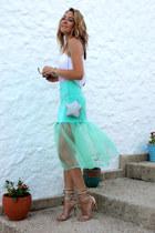 aquamarine organza Choies skirt - silver star Choies bag